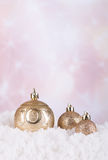 Christmas Ornaments 0n Snow Royalty Free Stock Images