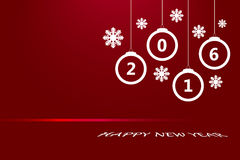 Christmas ornaments with the numbers 2016 in red. Happy new year card with white Christmas ornaments, seven white snowflakes and red link with the numbers 2016 Stock Photos