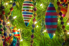 Christmas Ornaments On A Tree Stock Image