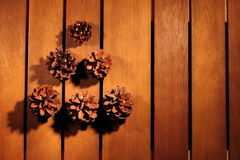 Christmas ornaments. And orange and cinnamon and cone Royalty Free Stock Images