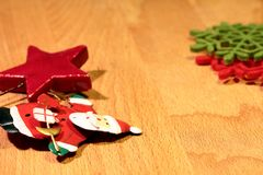 Christmas ornaments. And orange and cinnamon and cone Stock Images