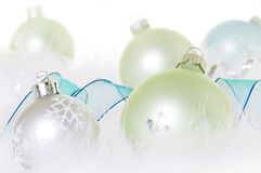 Christmas Ornaments in Pastel Green and Blue Stock Image