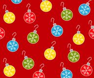 Christmas Ornaments Pattern 2. A background pattern featuring a variety of Christmas ornaments with snowflake pattern arranged on red background Royalty Free Stock Photo