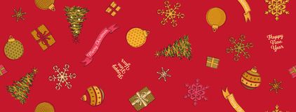 Free Christmas Ornaments Pattern, Seamless, Repeating, Baubles, Stars, Christmas Trees, Red Background Stock Image - 160742621