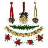 Christmas ornaments, patterns, garlands, toys set Stock Photo
