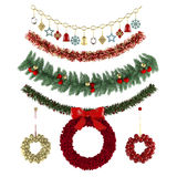 Christmas ornaments, patterns, garlands, toys set Stock Photography