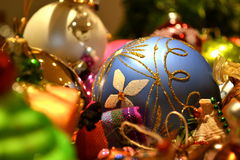 Christmas Ornaments. Pile of colorful christmas ornaments balls Stock Photo