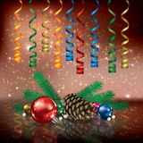 Christmas illustration with streamers Stock Images
