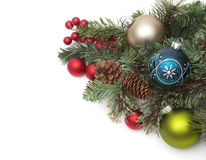 Christmas ornaments on pine needles. Various Christmas ornaments on pine needles Royalty Free Stock Photo