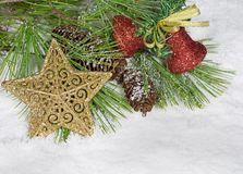 Christmas Ornaments and Pine Tree Royalty Free Stock Photography