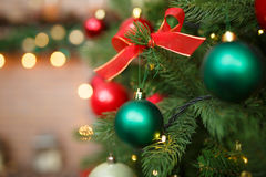 Christmas ornaments on pine tree Stock Photo