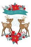 Christmas ornaments with poinsettia and deer. Christmas ornament with deer,  poinsettia flowers, snowflakes, leaves and holly Royalty Free Stock Images