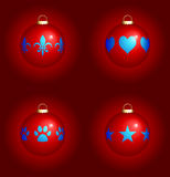 Christmas Ornaments on Red Background Royalty Free Stock Image
