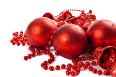 Christmas ornaments. Red christmas ornaments with balls and bells Stock Image