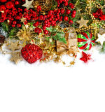 Christmas ornaments red baubles, golden decorations Royalty Free Stock Photo