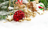 Christmas ornaments red baubles und golden decoration Royalty Free Stock Photos
