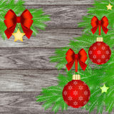 Christmas ornaments with red bow Stock Photos