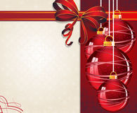 Christmas ornaments with red bow Stock Images