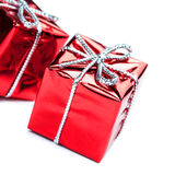 Christmas ornaments with Red gift box and balls  isolated on whi Stock Image