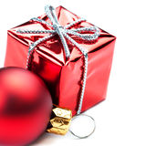 Christmas ornaments with Red gift box and balls  isolated on whi Royalty Free Stock Photography