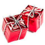 Christmas ornaments with Red gift box and balls  isolated on whi Stock Photo