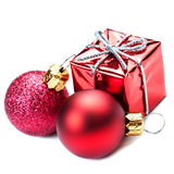 Christmas ornaments with Red gift box and balls  isolated on whi Stock Photos
