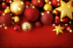 Christmas ornaments. Red and gold christmas ornaments Royalty Free Stock Photography