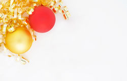 Christmas Ornaments. Red and Gold Christmas Ornament With Ribbon Stock Images