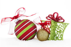Christmas Ornaments Red Green Ball Ribbon Gift Snow Stock Images