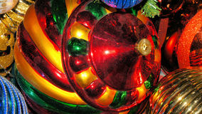 Christmas Ornaments. Red, green and gold Christmas ornaments Stock Image