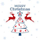 Christmas ornaments reindeer with decorated christmas tree. Merry Christmas and happy new year. Cartoon Vector Illustration Royalty Free Stock Image