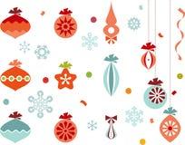 Christmas Ornaments. Retro christmas ornaments, snowflakes, ribbons and confetti Stock Photo