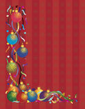Christmas Ornaments with Ribbons Confetti Red Royalty Free Stock Photography