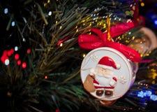 Christmas ornaments Santa Christmas tree Stock Image