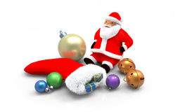 Christmas ornaments. Santa clause, balls, sock, bells,  on white background Stock Image