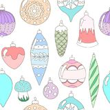 Christmas ornaments. Seamless pattern in pastel colors Royalty Free Stock Photography