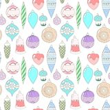 Christmas ornaments. Seamless pattern in pastel colors Stock Images