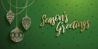 Gold Christmas Ornaments. Christmas ornaments with season`s greetings text vector illustration