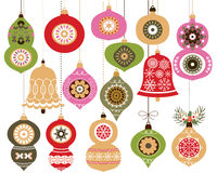 Christmas ornaments set. Vector Christmas hanging decoration in green and red with retro looking ornaments, bells, baubles for holiday designs Stock Photos
