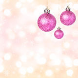 Christmas ornaments with shiny festive balls  Festive background Royalty Free Stock Image