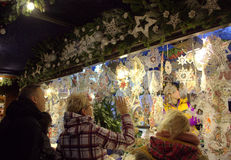 Christmas ornaments shop customers Stock Photos