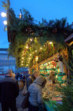 Christmas ornaments shop at night. People shopping ornaments and souvenir at Christmas market shop,Germany Stock Photos