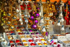 Christmas ornaments market stall. Showcase of Christmas ornaments offered for sale in a market stall. Displayed at a Christmas market in Germany stock image