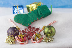 Christmas ornaments with simple stocking Royalty Free Stock Images