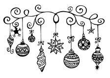 Christmas Ornaments Sketch. In black and white Stock Images