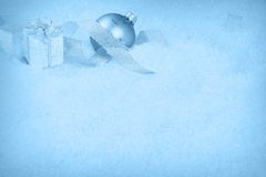 Christmas ornaments on a snow Stock Photography