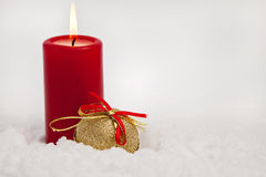 Christmas ornaments in snow Royalty Free Stock Images