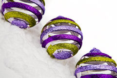 Christmas ornaments in snow Stock Photos