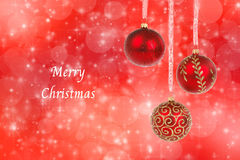 Christmas ornaments and snow on abstract background Royalty Free Stock Photos