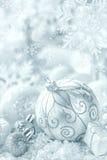 Christmas ornaments on snow stock photos